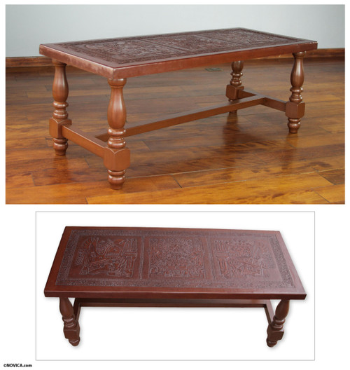 Peruvian Traditional Leather Wood Coffee Table 'Andean Elegance'
