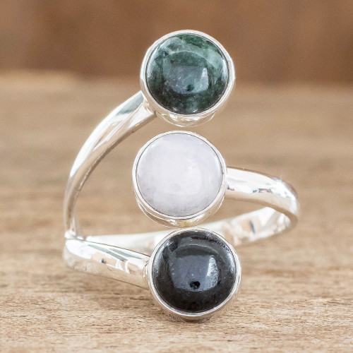 Handmade Sterling Silver Jade Wrap Ring 'Peace Love and Harmony'