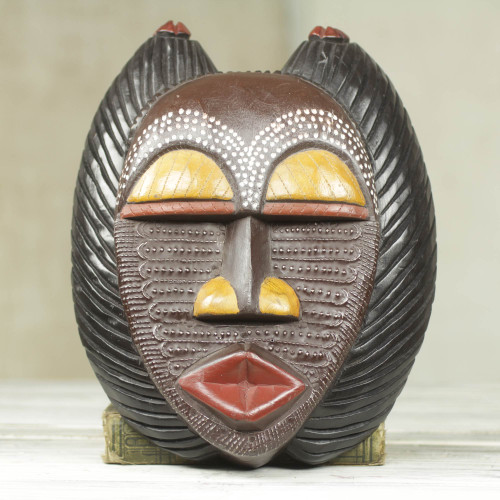 Unique African Wood Mask 'A Good Mother'