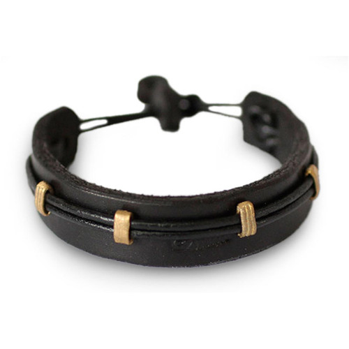 Men's Leather Wristband Bracelet 'Stand Alone in Black'