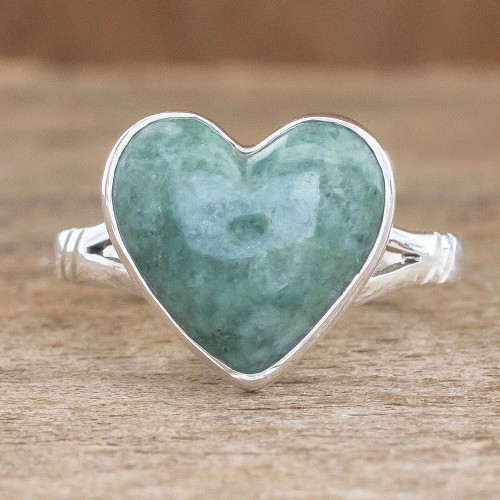Unique Heart Shaped Sterling Silver Jade Cocktail Ring 'Love Immemorial'