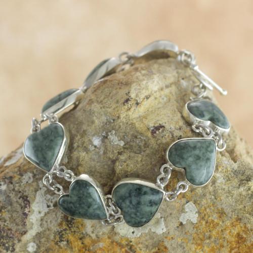 Heart Shaped Jade Sterling Silver Link Bracelet 'Love Immemorial'