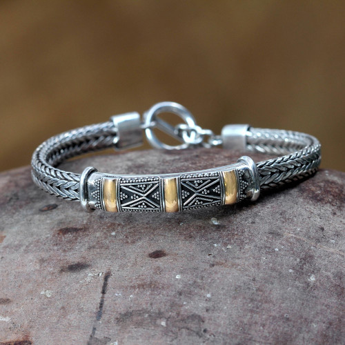 Fair Trade Gold Accent and Sterling Silver Chain Bracelet 'Tanah Lot Mystery'