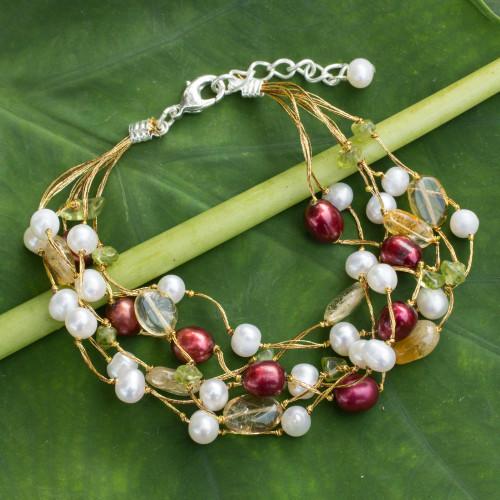 Pearl and Citrine Beaded Bracelet 'Spring Awakening'