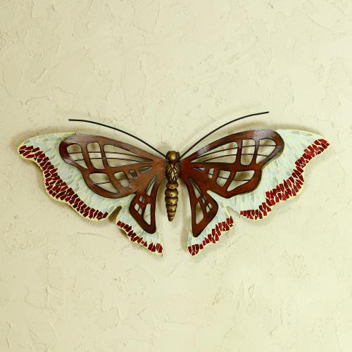 Mosaic Glass Wall Art 'Aztec Butterfly'