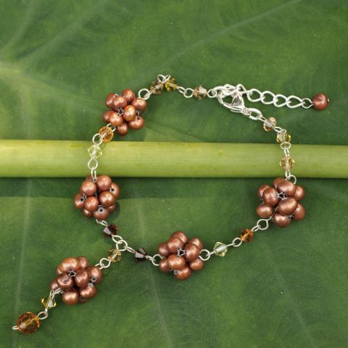 Handmade Beaded Pearl Bracelet 'Bronze Mums'