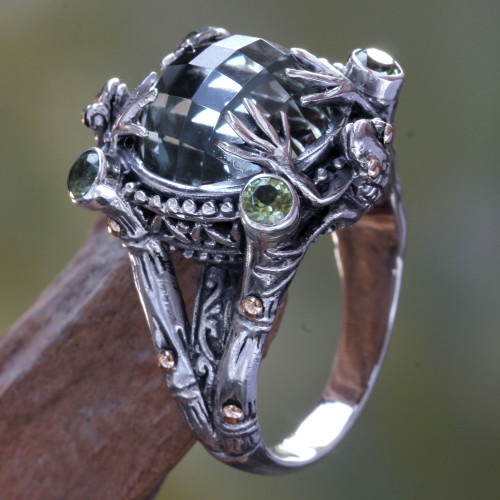 Sterling Silver and Prasiolite Cocktail Ring from Indonesia 'Tropical Frog'