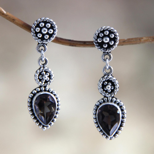 Unique Sterling Silver and Smoky Quartz Earrings 'Balinese Jackfruit'
