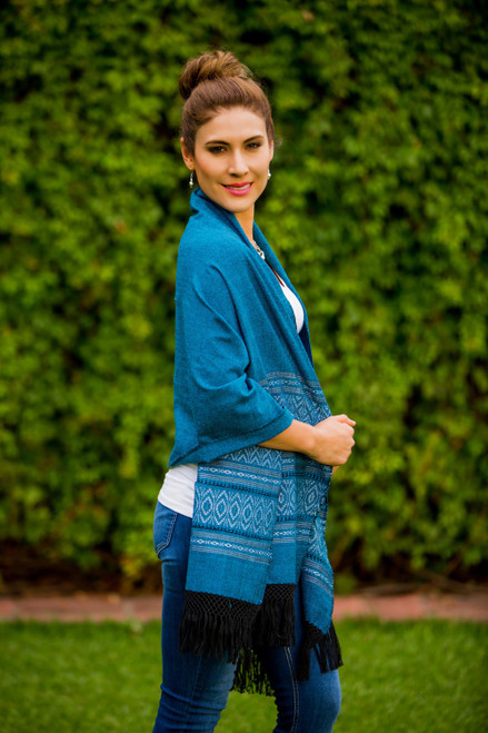 Mexican Geometric Cotton Patterned Shawl 'Blue Zapotec Treasures'