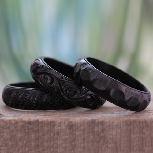 Hand Made Mango Wood Bangle Bracelets Set of 3 'Glorious Goa'