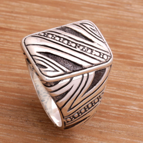Men's Handcrafted Sterling Silver Ring from Indonesia 'Energy Path'