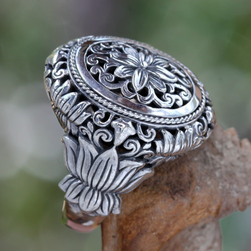 Hand Made Floral Sterling Silver Cocktail Ring 'Precious Lotus'