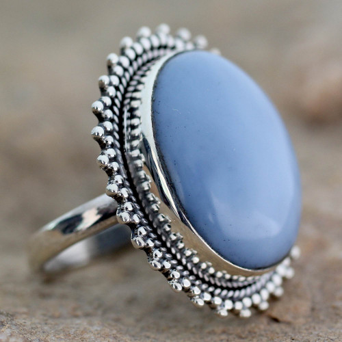 Indian Jewelry Cocktail Ring with Opal and Sterling Silver 'Blue Promise'