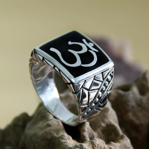 Men's Sterling Silver Signet Ring from Indonesia 'Sanskrit Om'