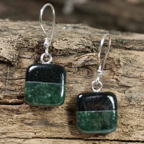 Fair Trade Sterling Silver Jade Dangle Earrings 'Duality'