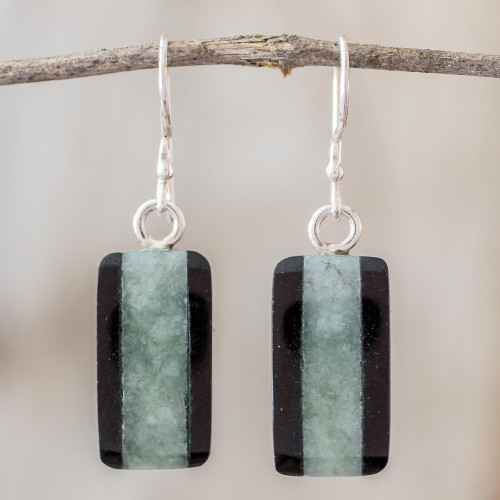 Collectible Modern Jade Dangle Earrings 'Maya Legend'