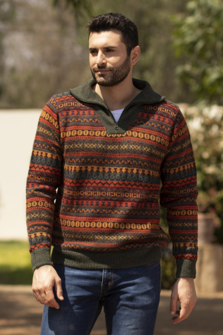 Men's Fair Trade Alpaca Art Knit Pullover Sweater 'Mountain Sunset'