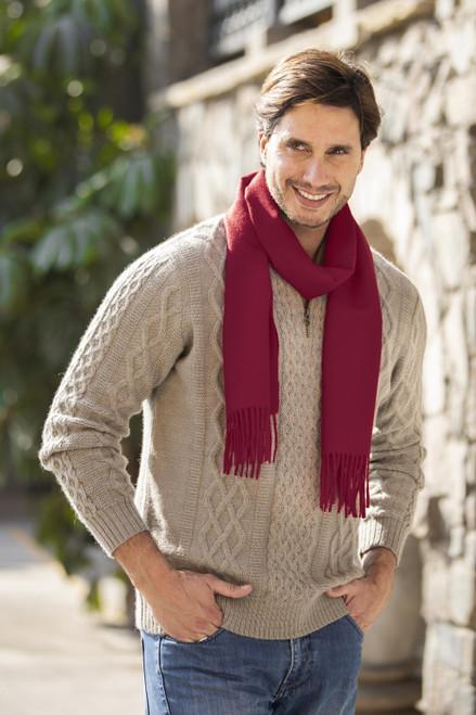 Men's 100 alpaca scarf 'Cherry Red'