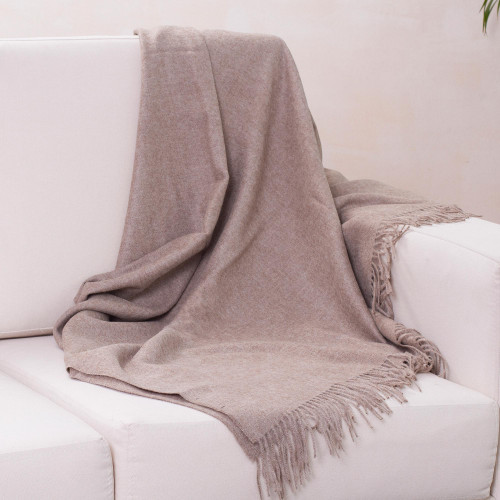 Hand Crafted Alpaca Wool Solid Throw 'Cozy Light Brown'