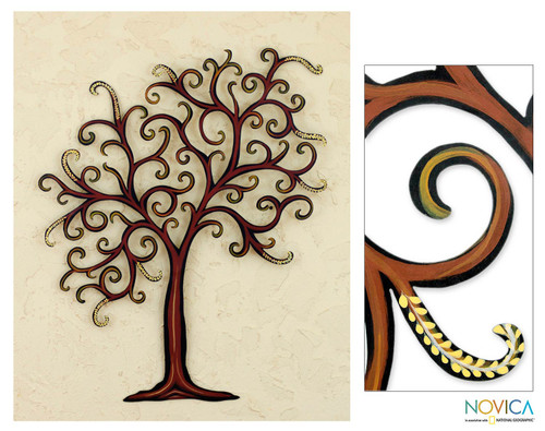 Unique Leaf and Tree Steel Wall Art 'Willow'