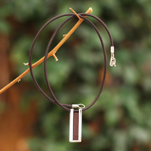 Modern Sterling Silver and Leather Pendant Necklace 'Brown Quechua Minimalist'