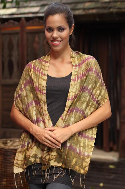 Thai Silk Scarf 'Purple Wilderness'