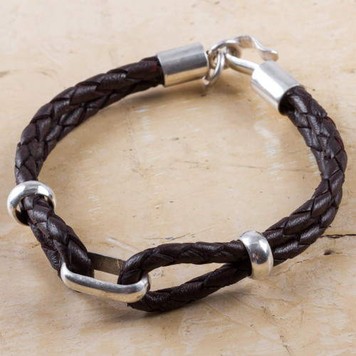 Handmade Men's Sterling Silver and Leather Bracelet 'Naturally'