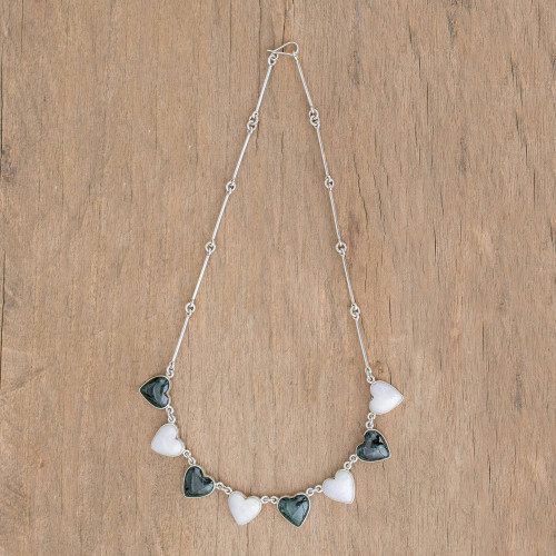 Women's Heart Shaped Jade and Sterling Silver Necklace 'Soul Mates'