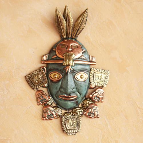 Inca Bronze and Copper Mask 'Inca Warrior'