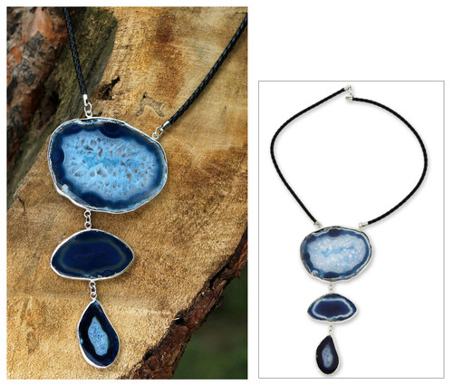 Fair Trade Leather and Agate Modern Necklace 'Sea Blue Mystique'