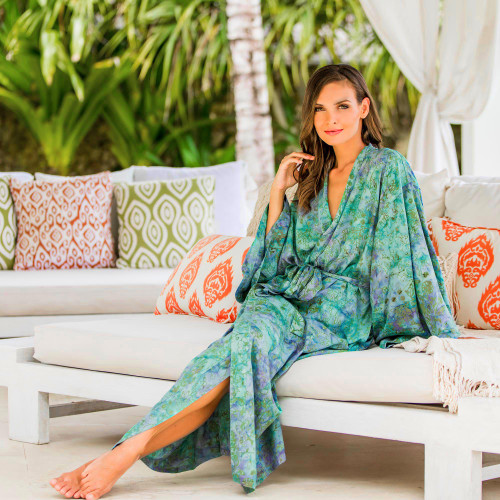 Artisan Crafted Women's Rayon Batik Robe 'Misty Javanese Forest'