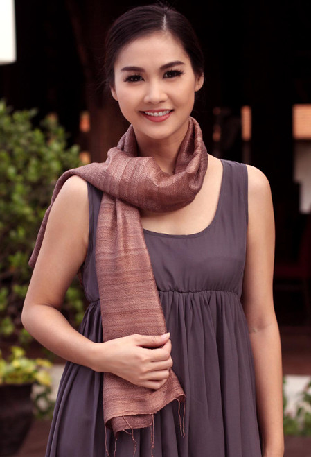 Unique Silk Scarf from Thailand 'Bold Spice'