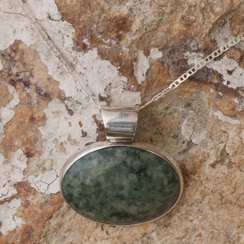 Hand Crafted Sterling Silver Jade Pendant Necklace 'Maya Virtues'