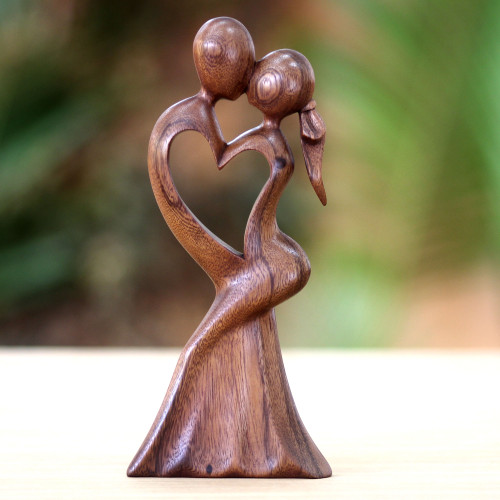 Romantic Wood Sculpture from Indonesia 'Love's Kiss'