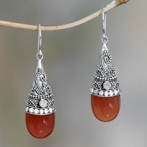 Chalcedony and rainbow moonstone dangle earrings 'Bali Tradition'