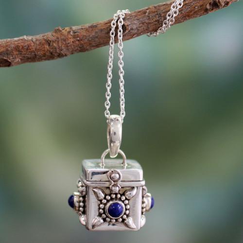 Fair Trade Sterling Silver and Lapis Lazuli Locket Necklace 'Royal Prayer'