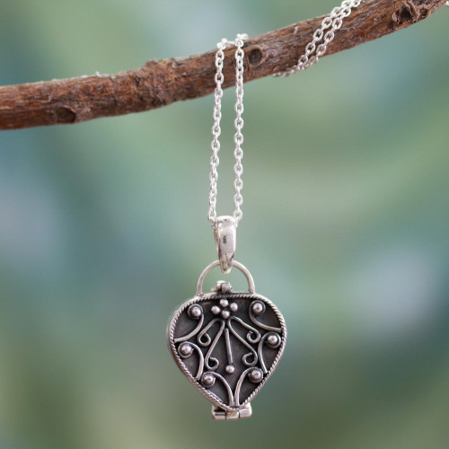 Heart Shaped Sterling Silver Locket Necklace 'Prayer of My Heart'