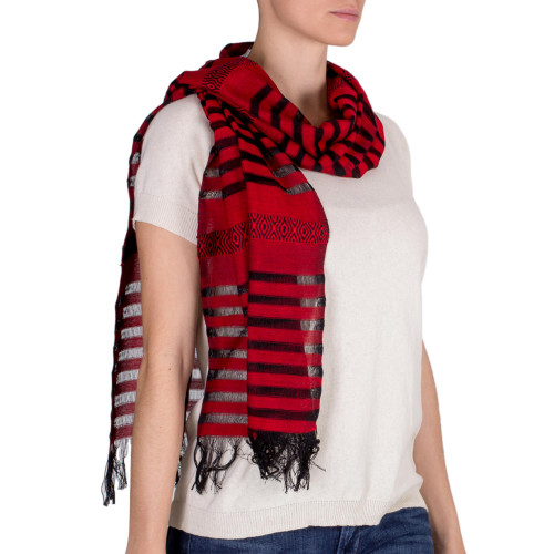 Cotton scarf 'Red Totonicapan Diamonds'