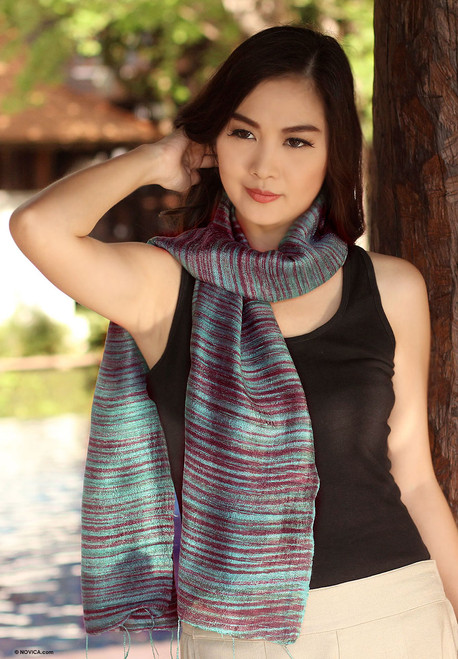 Silk batik scarf 'Mae Nam Khong Valley'