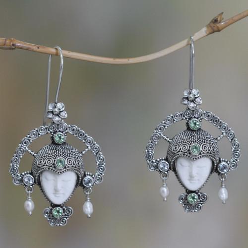 Blue Topaz and Cow Bone Silver Earrings 'Queen of Plumeria'