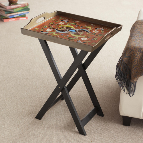 Handmade Reverse Painted Glass Wood Glass Folding Table 'Scarlet Delight'