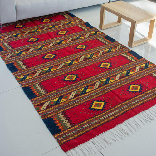 Hand Woven Zapotec Wool Area Rug 5x8 'Sunset Stars'