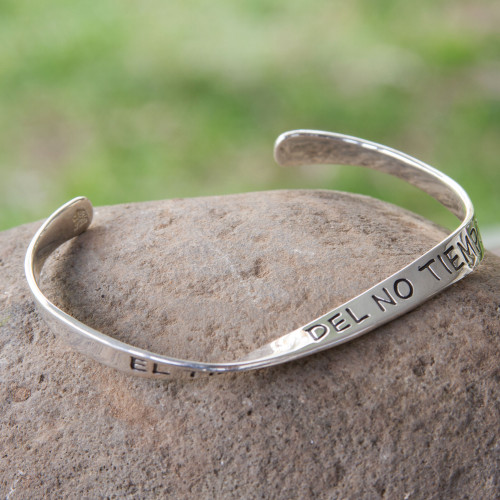 Inspirational Sterling Silver Cuff Bracelet 'The Time of No-Time'