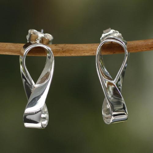 Inspirational Sterling Silver Button Earrings 'Infinite Maya'
