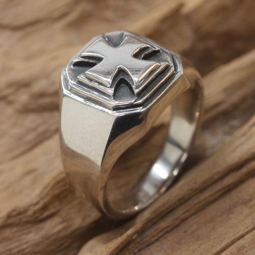 Men's Handcrafted Sterling Silver Signet Ring 'Maltese Cross'