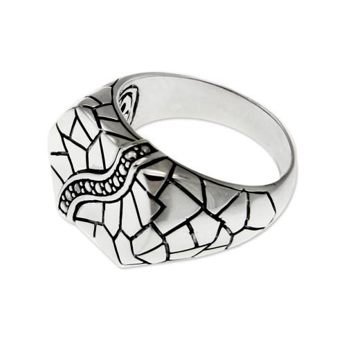 Men's sterling silver ring 'Cobblestones'