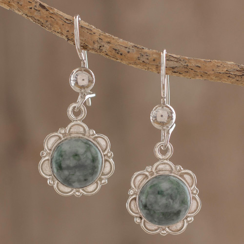 Fair Trade Floral Sterling Silver Dangle Jade Earrings 'Green Forest Princess'