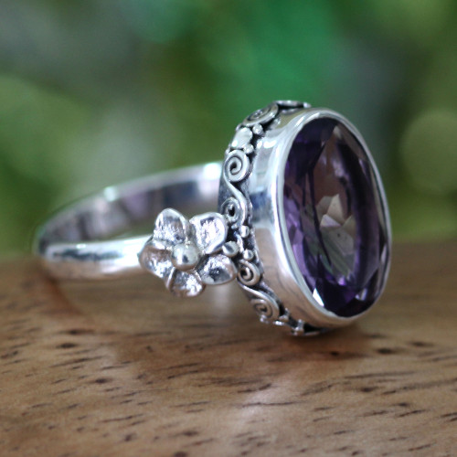 Handcrafted Floral Sterling Silver and Amethyst Ring 'Frangipani Allure'