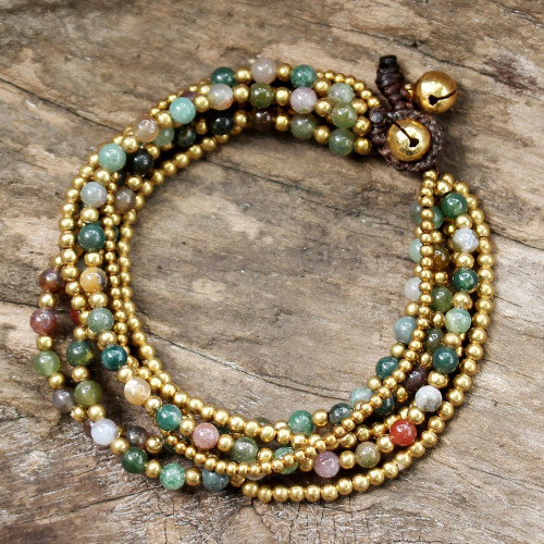 Hand Crafted Brass and Jasper Bracelet from Thailand 'Joy'