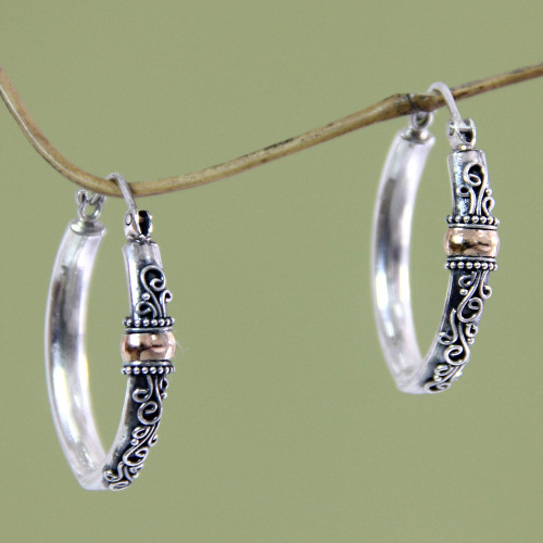 Hand Crafted Sterling Silver and 18k Gold Hoop Earrings 'Floral Tendrils'